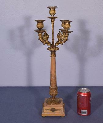 Antique French Napoleon III/Second Empire Bronze & Marble Candelabra Candlestick