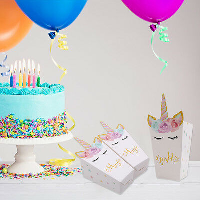 12×Unicorn Paper Gift Candy Bag Party Keepsake Candy Box Wrapping Supplies S