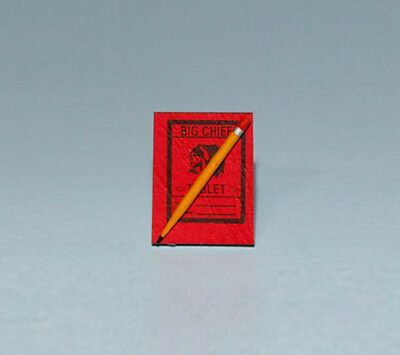 Dollhouse Miniature 1:12 Scale Big Chief Writing Tablet with Pencil #HD466