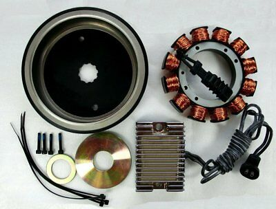 32 AMP Alternator Charging System Kit w/Chrome Reg for Harley Big Twins'70-'99