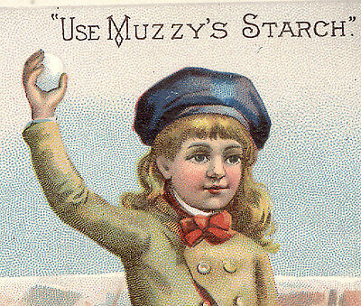 1880's ELKHART IND MUZZY'S CORN STARCH TRADE CARD, CHILD THROWING SNOWBALLS K301