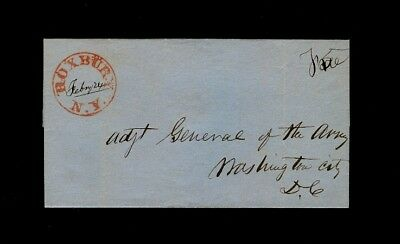 Superb red 1840s ROXBURY NY on wrapper to the Adjutant General of the Army in DC