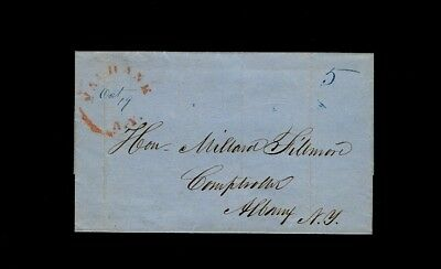 Red 1840s YAPHANK NY on wrapper addressed to Millard Fillmore Comptroller Albany