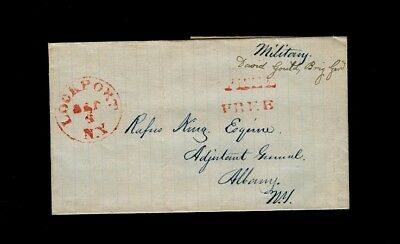 """LOCKPORT NY 1840s & """"FREE"""" - wrapper w/ """"Military"""" and """" David Gould, Brig. Gen"""""""