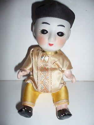 "Vintage Asian Doll  Black Sleep Eyes Working Belly Squeaker 6"" Tall"
