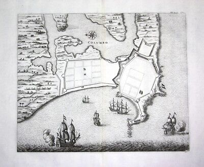 1730 Colombo Columbo Sri Lanka city plan map - Kupferstich / engraving ma 108534