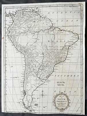 1777 Thomas Kitchin Large Antique Map of South America