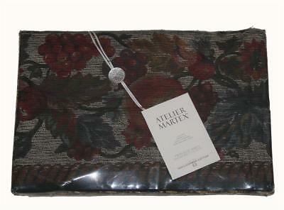 VTG Atelier Martex POMEGRANATE Floral Dark Colors Percale Twin Flat Sheet NIP