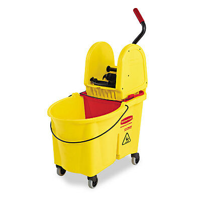 Rubbermaid Commercial WaveBrake 44 Quart Yellow Bucket/Downward Pressure Wringer