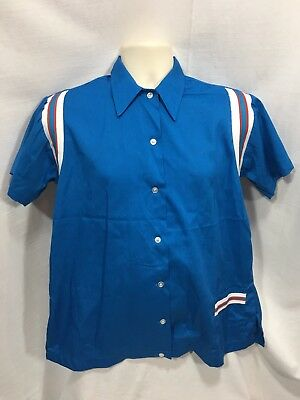 Hilton Womens XL Vintage Bowling Shirt New London Marines Made In USA Size 38