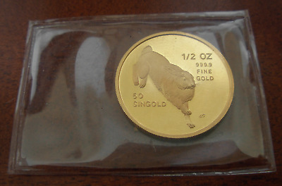 Singapore 1987 Gold 1/2 oz 50 Singold Year of The Rabbit Original Mint Sealed BU