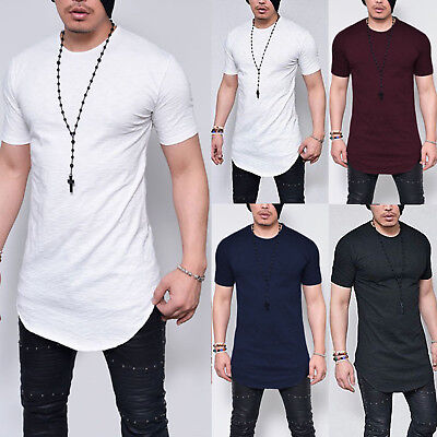 Plus Size Men's Longline Casual Short Sleeve Curved Hem Tops Blouse T-Shirt Tee