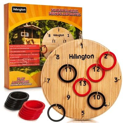 Hook Ring Toss Game Safe Wooden Board Play Hanger Hooks Indoor Outdoor Family