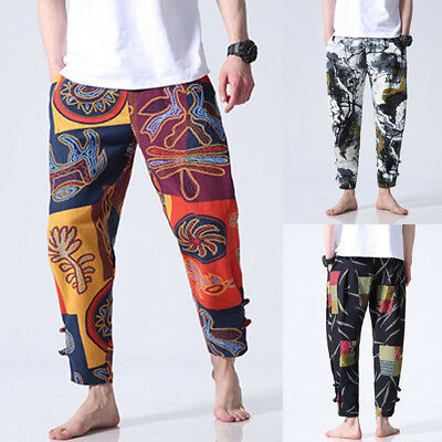 Mens Patchwork Nepalese Pants Combats Yoga Casual Trousers Hippy Festival Pants