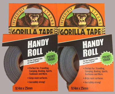 2 x Gorilla Tape Handy Roll To Go 25mm x 9m Tape Strong Duct Tape Gorilla Glue