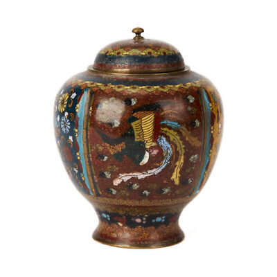 Antique Japanese Meiji Lidded Cloisonne Tea Caddy 19Th C.