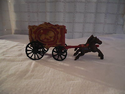 Vintage cast iron circus wagon w/horse lion design
