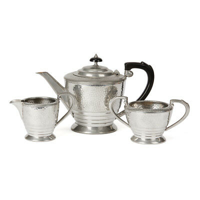 Arts & Crafts Tudric Pewter Three Part Teaset Early 20Th C.