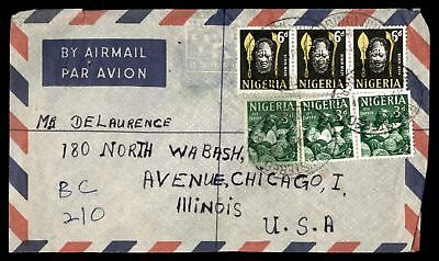 Benin City May 29 1961 Registered Air Mail Cover To Chicago  Il Usa