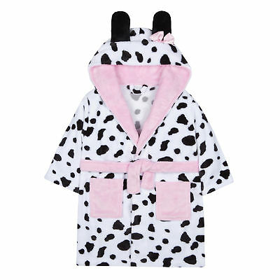 Kidz Girls Snuggle Soft Hooded Dalmatian Dressing Gown Robe
