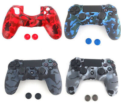 Pro Grip Camouflage Silicone Case Cover Skin for PS4 Controller + 2 Thumbsticks