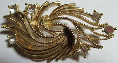 """VINTAGE FACET CUT GLASS GOLD TONE Statement BROOCH PIN 2.5"""""""