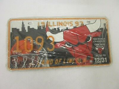 CHICAGO BULLS ILLINOIS 1993 LICENSE PLATES PAIR NBA Champions Sealed W/Paperwork
