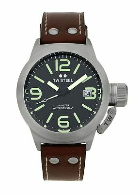 TW Steel Men's Canteen TWCS21 Brushed Steel Black Dial Leather Strap Watch