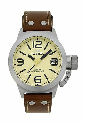 TW Steel Men's Canteen TWCS21 Brushed Steel Black Dial Leather Strap Watch Ivory