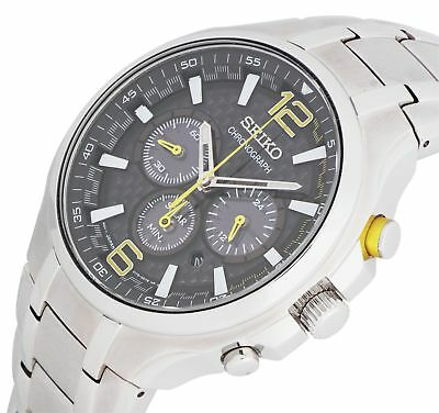 Seiko ssc449p9 Men's Solar Black Dial Stainless Steel Chronograph Watch - Silver
