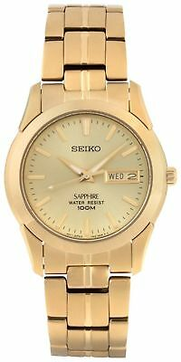 Seiko Men's Gold Plated Quartz Watch Easy Read Dial S-Steel Case