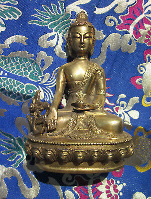 "Brass 6"" Beloved Healing Tibetan Buddhist Medicine Buddha Statue Hollow Base"