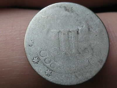 1851-1853 Three 3 Cent Silver Trime- Heavily Worn, Slick, Lowball