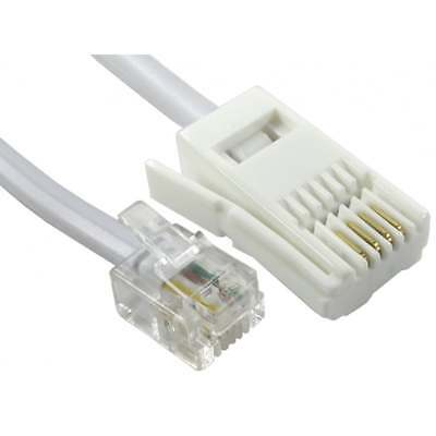 2m RJ11 to BT Cable Lead Modem FAX Telephone Phone Plug 4 Pin Straight PREMIUM