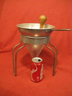Wear Ever #8  Colander With Wood Pestle  And Stand  Applesauce Tomato Strainer