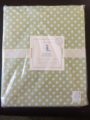NWT Pottery Barn Kids Crib Toddler DUVET Green White Mini Dot Dots
