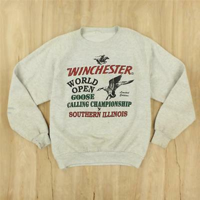 vtg WINCHESTER arms goose calling raglan sweatshirt faded distressed 80s 90s