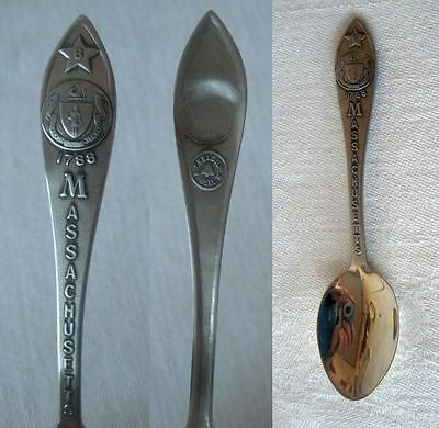 Vintage MASSACHUSETTS State Seal Nickel Silver Souvenir Spoon BELL TRADING POST