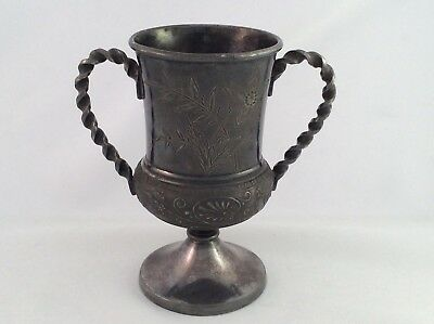 Rare Middletown Plate Co Neoclassical Repousse Silver Plated Loving Cup C1870