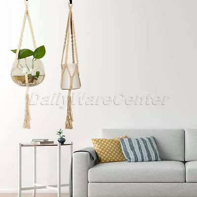 Pot Holder Plant Hanger Hanging Macrame Flower Planter Basket Braided Rope Jute