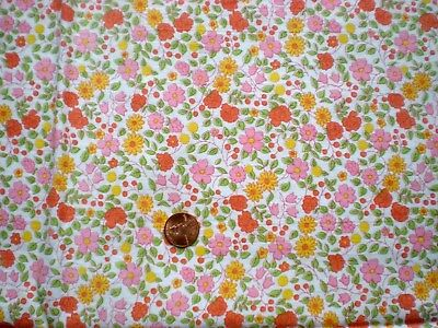 FLORAL Full Vtg FEEDSACK Quilt Sewing Doll Clothes Craft Cotton Fabric PinkYello