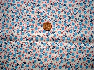 Tiny FLORAL Full Vtg FEEDSACK Quilt Sewing DollClothes Craft Cotton Red BlueRed