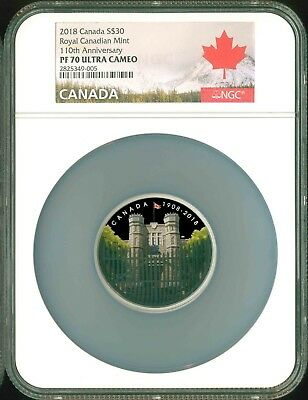 2018 Canada S$30 2 Oz. 110th Ann. Royal Canadian Mint Gate NGC PF70 UC OGP POP 1