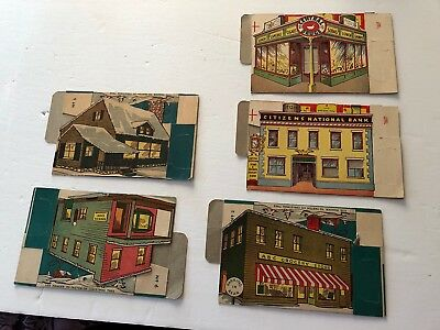 Vintage Milkes 1940 Christmas Cardboard Stores And Houses Town Hall Village