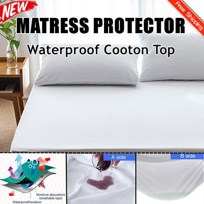Luxury Bamboo Mattress Protector Waterproof Bed Matress Single King Queen NEW GO