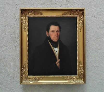 19th c. Portrait Painting of Gentleman Continental School Oil on Canvas Antique