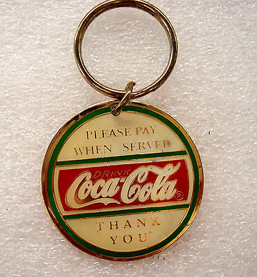 "COCA-COLA KEYCHAIN Ring Please Pay When Served Thank You 1994 Coke 2"" 50s Diner"