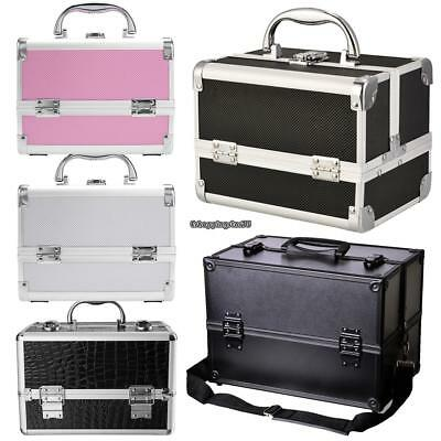 Pro Aluminum Makeup Train Case Jewelry Box Cosmetic Organizer w/Draws 5 Types
