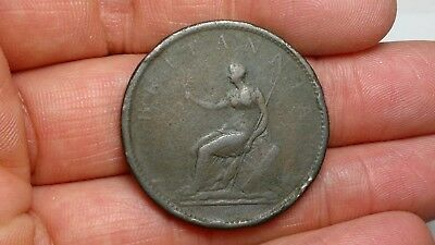 Old UK Great Britain coin, copper
