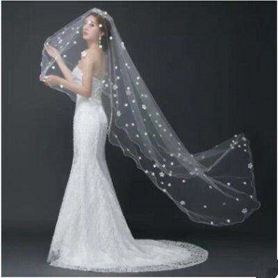 Graceful White Ivory Cathedral Edge Lace Bridal Wedding Veil